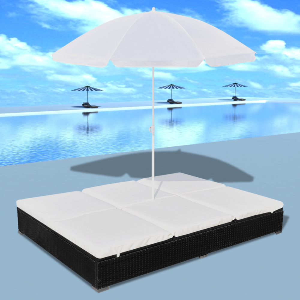 Rocambolesk Superbe Bain de soleil double en rotin avec parasol Noir neuf