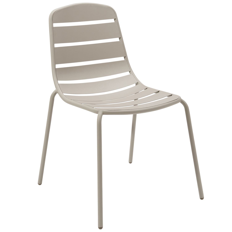 hyba - lot de 2 chaises de jardin optimistic - métal - taupe - pas