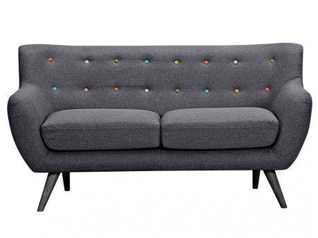 Vente-unique Canapé 2 places en tissu Serti - Gris anthracite avec boutons déco multicolores