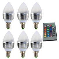 Spot 3w De TélécommandeAc Bougie 265v 6 Pcs Ampoule Dimmable Rgb Lumière Lampe Avec Led Lumières Couleur 85 Ac4Lq53RjS