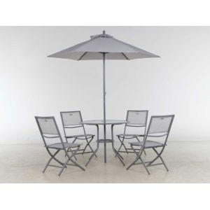 Hespéride - Salon de jardin 4 places + parasol Ajaccio Gris - pas ...