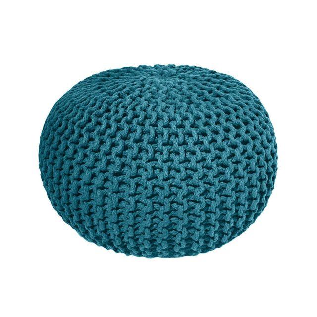 today pouf tricot 100 coton 30x40cm goa bleu canard pas cher achat vente poufs. Black Bedroom Furniture Sets. Home Design Ideas