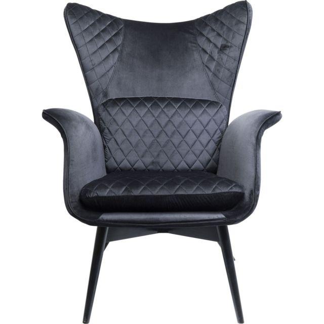 Karedesign Fauteuil Tudor velours noir Kare Design