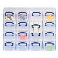 Really Useful Box - Organiseur de 16 boîtes plastique 0,14 L incolores