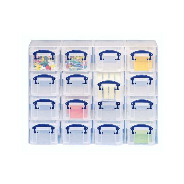 really useful box organiseur de 16 bo tes plastique 0 14 l incolores pas cher achat vente. Black Bedroom Furniture Sets. Home Design Ideas