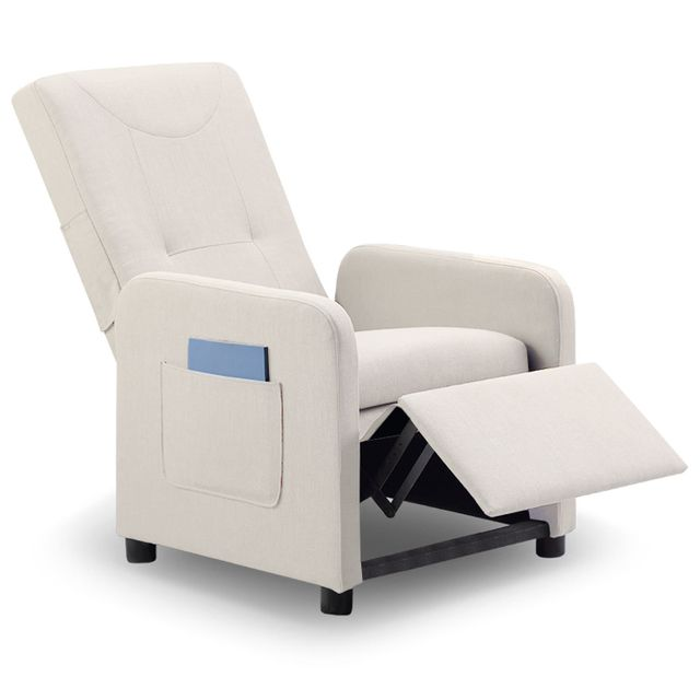 Fauteuil relax pliable Bristol tissu Beige Relaxation