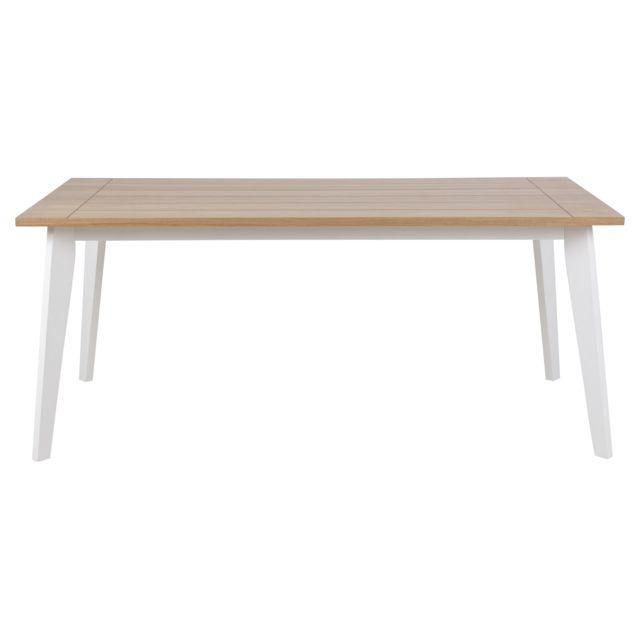 HELLIN Table en bois et pieds laqué blanc - MERYL