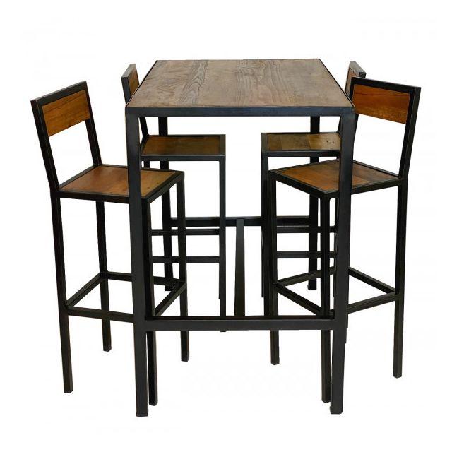 Mathi Design Atelier - Ensemble Table haute et Tabourets