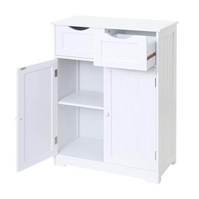 Mendler Commode Hwc-b65, 2 tiroirs, 2 portes, 82x60x30cm, blanc