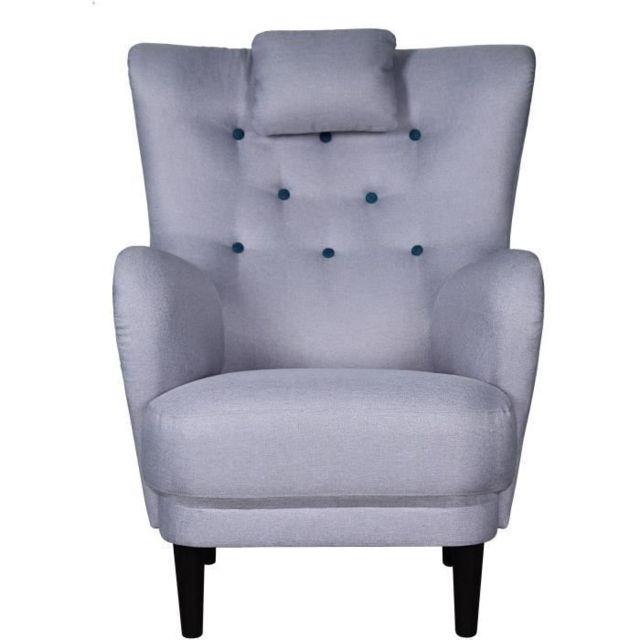 FAUTEUIL WERNER Fauteuil - Tissu Gris clair - Boutons bleu Paon - L 81 x P 90 x H 106 cm