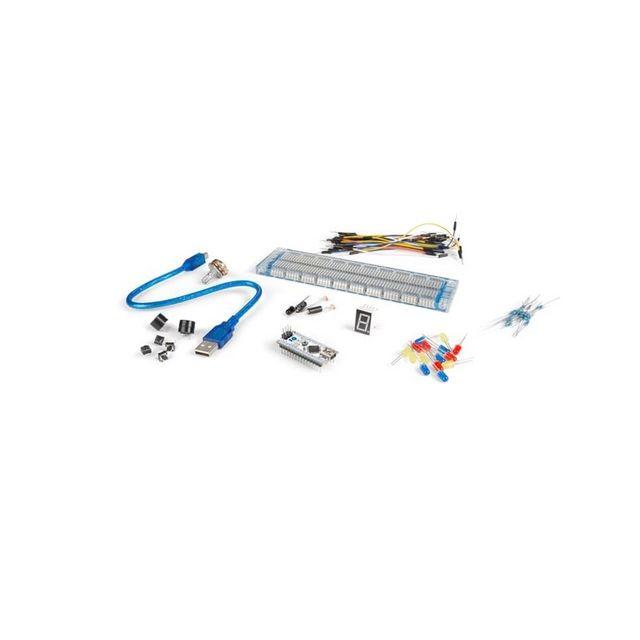 Perel Kit d'expérimentation de base arduino 1× Atmega328 Nano development board (VMA102) 1 x Usb cable 1× Breadboard 30 x Breadboard jumper wire 2 × Light Dependant Resistors 1 x Ir Remote Receiver 4 x tactile Switches 15 x Led (different color