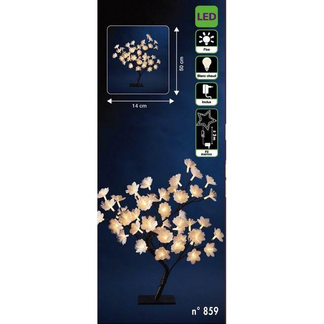 jja arbre d 39 int rieur fleurs lumineuses 50 cm 48 led pas cher achat vente d corations de. Black Bedroom Furniture Sets. Home Design Ideas