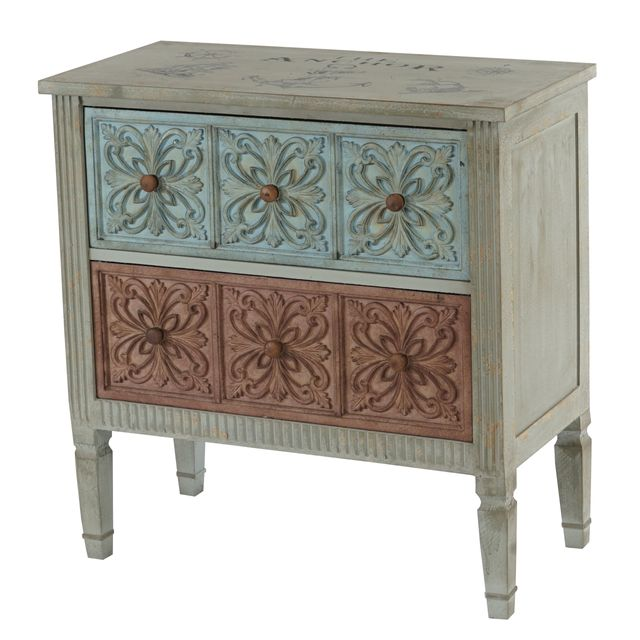 Mendler Commode Aveiro armoire table d'appoint, vintage, shabby chic, 80x79x40cm