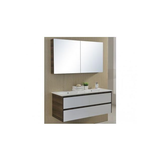 Vente-unique Ensemble de salle de bain Adele double vasque en Mdf avec meuble bas et miroir