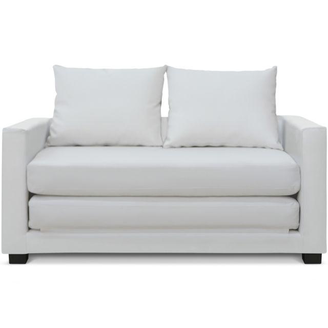 MENZZOPREMIUM Canapé-lit déplimousse Ascott Blanc