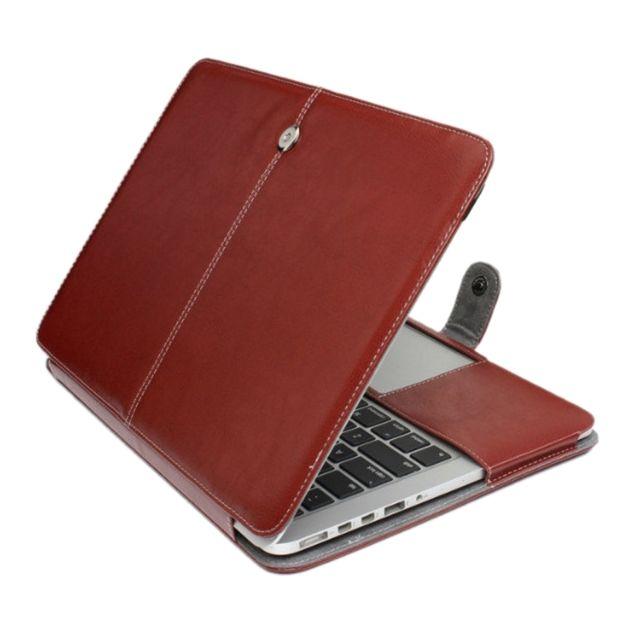 Royaume-Uni disponibilité be330 e1983 Housse Étui café pour Macbook Pro Retina 15,4 pouces ordinateur portable  Crazy Horse Texture horizontale Flip en cuir