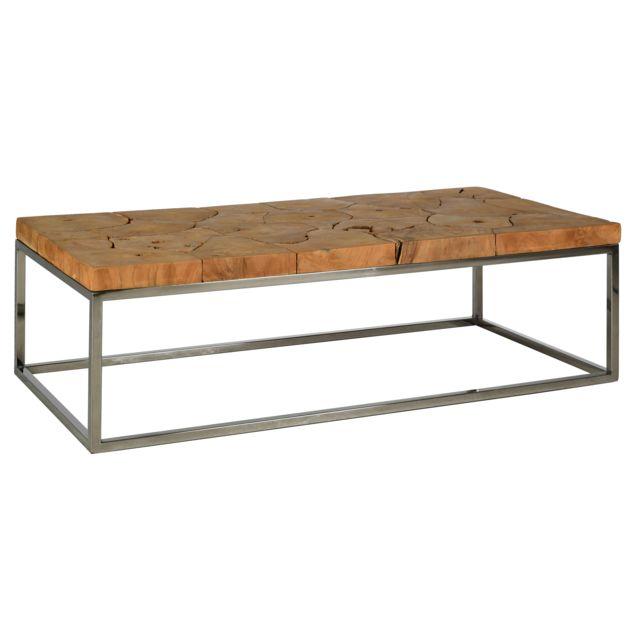 AUBRY GASPARD Table basse en teck et acier Puzzle