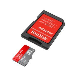 SANDISK - Carte Mémoire Micro SDHC Ultra UHS-1 - 16 Go - Classe 10 + Adaptateur SD - SDSDQUA-016G-U46A