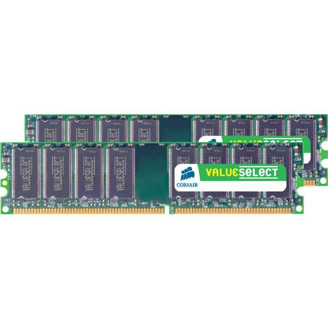 CORSAIR Mémoire Kit de 2 Barrettes DDR2 PC2-6400 - 2 x 2 Go 4 Go, 800 MHz - CAS 5 - Value- VS4GBKIT800D2 Barrette Mémoire CORSAIR DDR2 Value- 2 x 2 Go - 2 barettes de 2048 Mo pour le Dual Channel - PC2-6400 - CL5 - Bus 800 MHzNon compatible avec les Systè