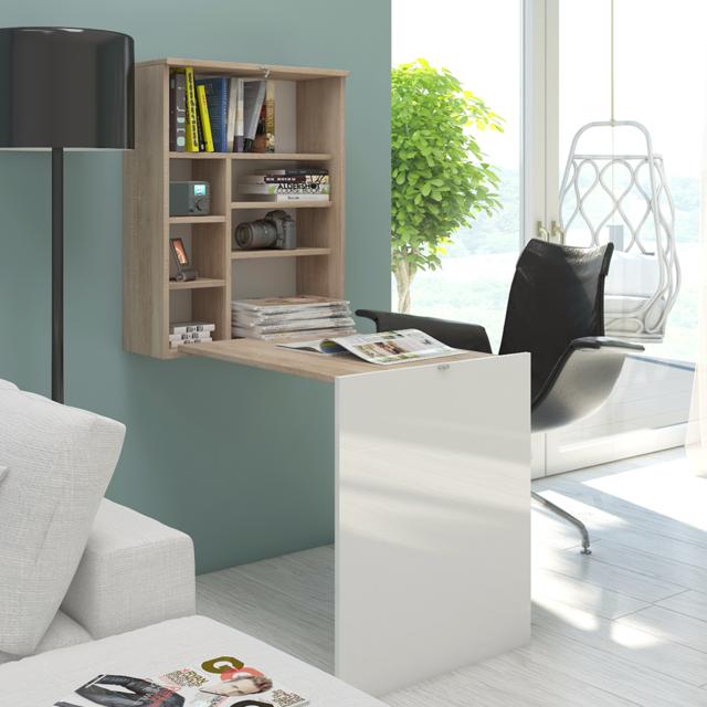 SELSEY Bureau escamotable / Bureau rabattable - FUNCTION - 60 cm - effet chêne / blanc brillant - 7 niches ouverts - design mod