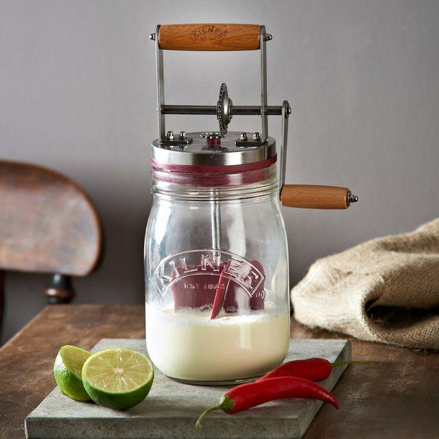 Kilner Baratte à beurre avec bocal en verre et moulinette en inox Butter