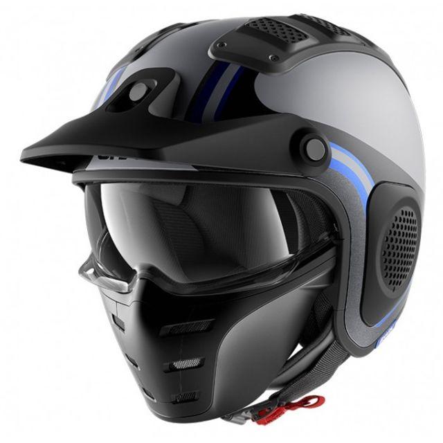 3f147a7c450c7 Shark - casque jet moto scooter X-DRAK HISTER AKB gris noir bleu mat - pas  cher Achat / Vente Accessoires casques - RueDuCommerce