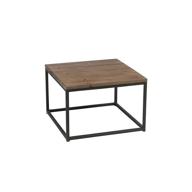 Table gigogne en métal et bois naturel
