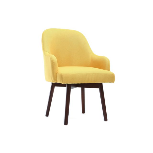 Miliboo Fauteuil scandinave jaune et bois foncé Mona