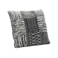 Declikdeco - Coussin Kare Design Noir et Blanc Impression Lignes 40x40 Organza