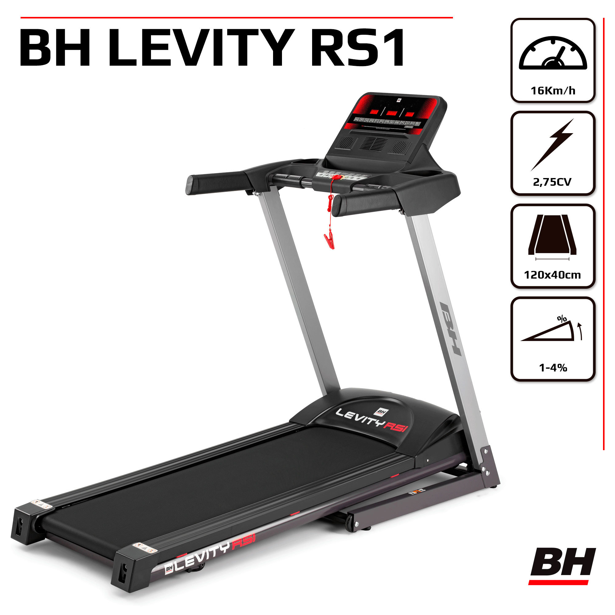 Tapis de Course 16km/h. Inclinaison manuelle. Levity Rs1 G6140RF