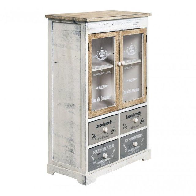 Meuble De Cuisine Vintage.Buffet Meuble De Rangement 4 Tiroirs 2 Portes Blanc Beige Vintage Cuisine Salon