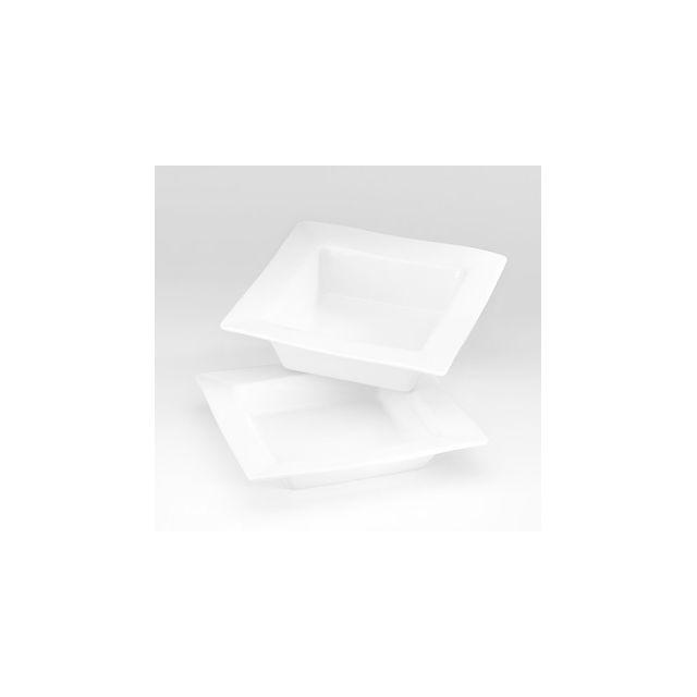 pillivuyt assiette creuse carr e blanche 20x20cm en porcelaine quartet pas cher achat. Black Bedroom Furniture Sets. Home Design Ideas