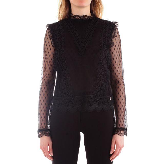 Fracomina Femme Fr19FP538BLACK Noir Polyester Blouse