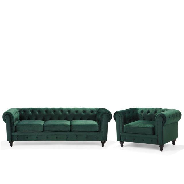 BELIANI Lot canapé fauteuil vert CHESTERFIELD