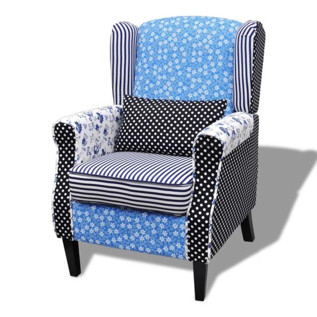 Fauteuils club, fauteuils inclinables et chauffeuses lits famille Fauteuil avec design de patchwork Tissu