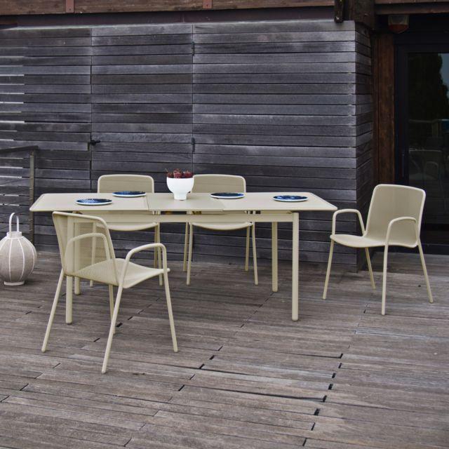 Oasi by Emu - Salon de jardin Acier avec table extensible 160/210cm ...