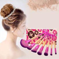 Wewoo - 7 en 1 sirène Style poignée pinceau de maquillage cosmétique Fondation Crème poudre Blush outil avec sac portable couleur de dégradé
