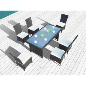 Concept usine salon de jardin zagora table 6 fauteuils - Salon de jardin en resine tressee luxe poly rotin ...