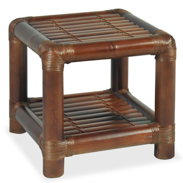 Helloshop26 Table de nuit chevet commode armoire meuble chambre 40 x 40 x 40 cm bambou marron foncé 1402044