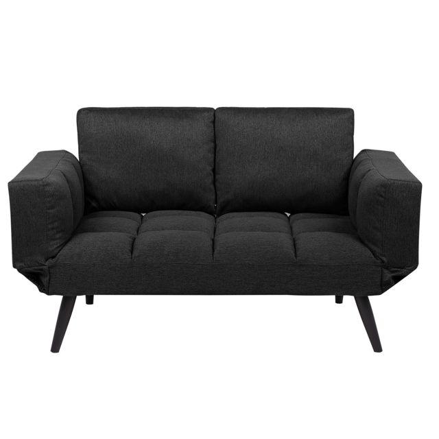 Beliani Canapé-lit en tissu noir Brekke