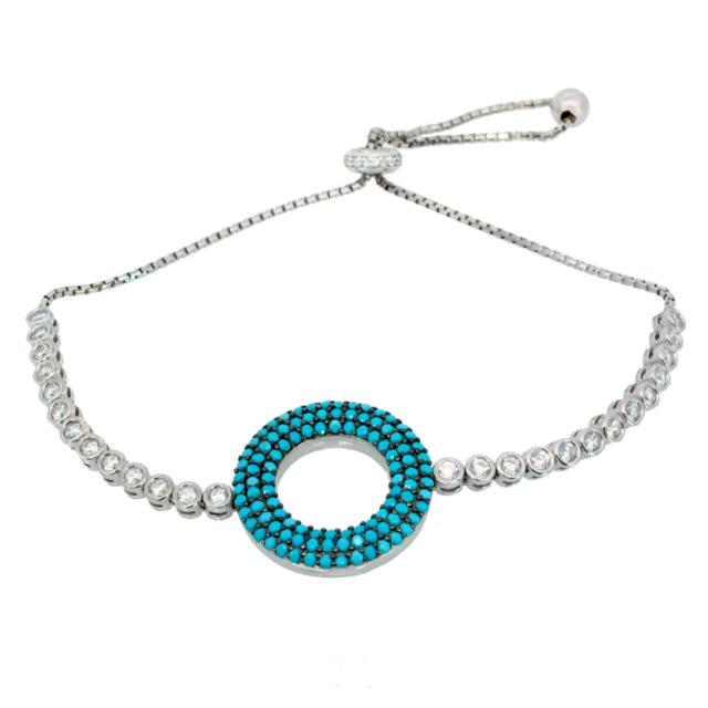 Alexandra Plata Bracelet en argent sterling en zircone turquoise ronde