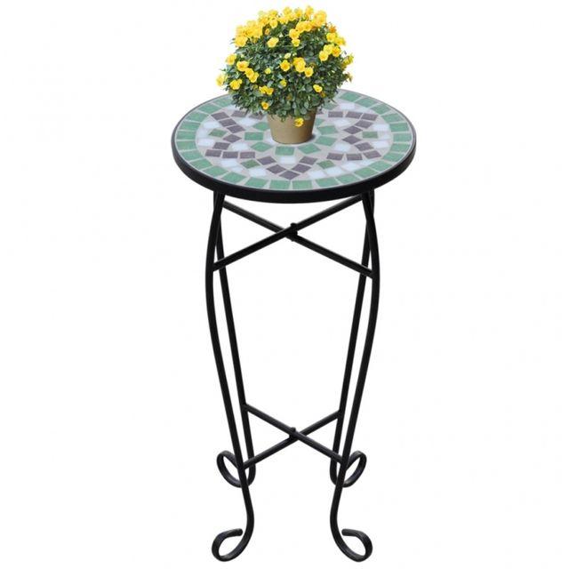 Casasmart Table d'appoint pour plantes en mosaïque vert et blanc