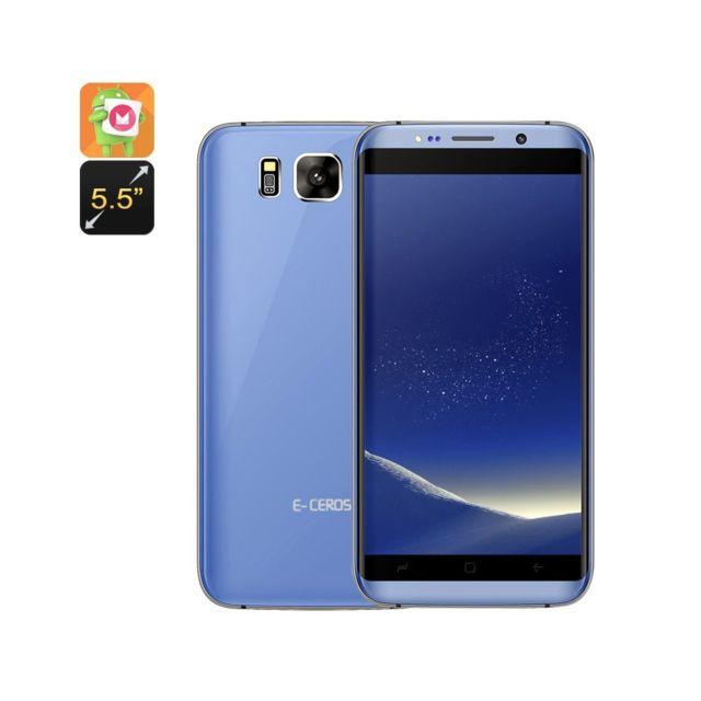 Auto-hightech Smartphonec Dual sim, 3G, androïde 6.0, Cpu à quatre cœurs, afficheur de 5.5 pouce, Google Play, Bluetooth 4.0 Bleu