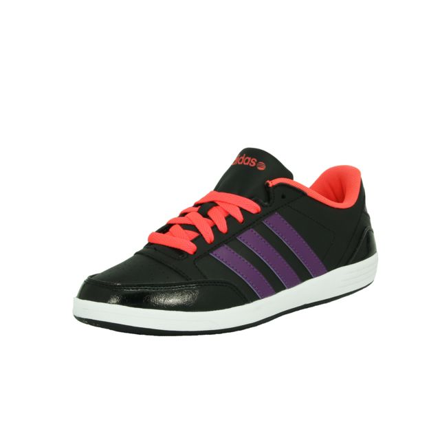 Adidas Neo - Vlneo Hoops Lo W Chaussures Sneakers Mode Femme Noir Rose Violet