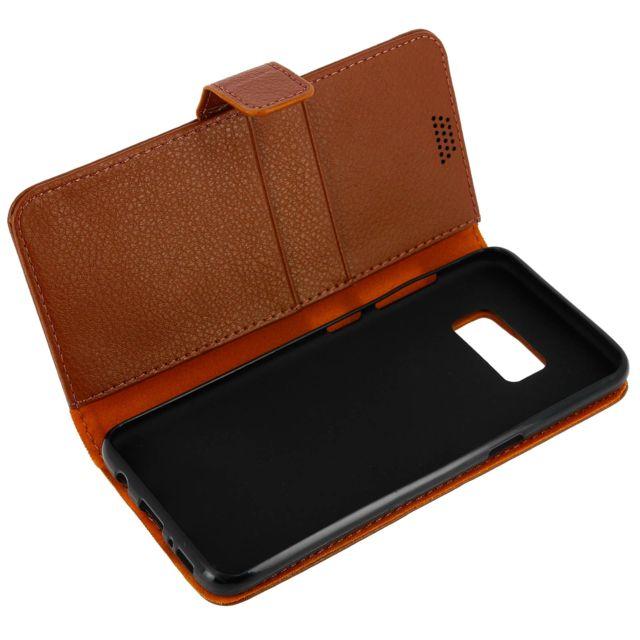 Avizar - Housse Etui Clapet Portefeuille Samsung Galaxy S8 Plus - Marron