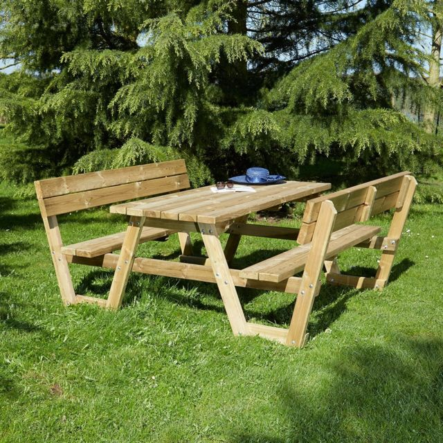Table pique nique en bois Versailles avec dossiers
