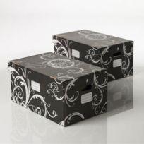 Clementina frog - Boite de rangement carton noir motifs arabesques 55x34x26cm - Lot de 2 Clean'UP