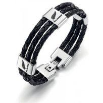 All Blacks Bijoux - Bracelet All Blacks 682037 - Bracelet Cuir Noir Homme