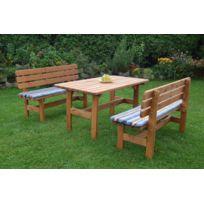 GASPO - Ensemble de jardin en bois table et 2 bancs \