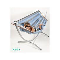 Jobek - Set Soleil Bleu Caraïbes hamac à barres rayures bleu caraibes et support Arc métal